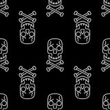 Modello senza cuciture di vettore del cranio sul nero, fondo bianco dei crani della caramella di Halloween, Immagine Stock