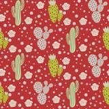 Modello senza cuciture di vettore del deserto del cactus Struttura verde e grigia della stampa del tessuto della natura Immagine Stock
