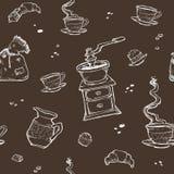 Modello senza cuciture di vettore del dessert e del caffè Elementi dell'alimento su fondo scuro Smerigliatrice, tazza, muffin, ci Fotografie Stock Libere da Diritti
