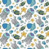 Modello senza cuciture di vettore del mare blu delle meduse illustrazione di stock