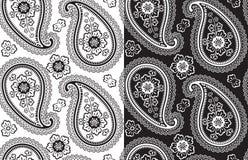 Modello senza cuciture di vettore del tessuto di Paisley. Il nero e W Immagini Stock Libere da Diritti
