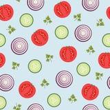 Modello senza cuciture di vettore dell'alimento sano Cipolla, cetriolo, pomodoro, elementi del prezzemolo Fotografia Stock Libera da Diritti
