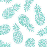 Modello senza cuciture di vettore dell'ananas per la carta da imballaggio scrapbooking o del tessuto, Fotografia Stock