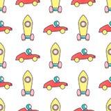 Modello senza cuciture di vettore dell'automobile rossa e del razzo giallo Immagini Stock Libere da Diritti