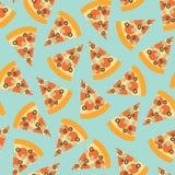 Modello senza cuciture di vettore della fetta della pizza Fondo con la pizza di tiraggio della mano Pizza con le olive, fungo, fo illustrazione di stock