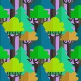 Modello senza cuciture di vettore della foresta mista piana Illustrazione Vettoriale