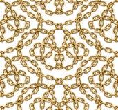 Modello senza cuciture di vettore delle catene dorate intrecciate Fotografia Stock