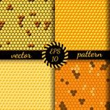 Modello senza cuciture di vettore delle cellule del miele, pettini Fotografie Stock