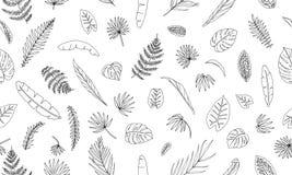 Modello senza cuciture di vettore delle foglie della pianta tropicale royalty illustrazione gratis