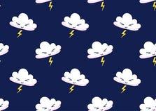 Modello senza cuciture di vettore delle nuvole del fumetto con fulmine su un fondo scuro di notte illustrazione vettoriale