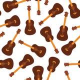 Modello senza cuciture di vettore delle ukulele su un fondo verde Progettazione dello strumento di musica che ripete mattonelle I royalty illustrazione gratis