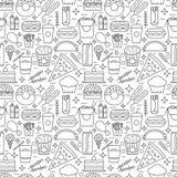 Modello senza cuciture di vettore di alimenti a rapida preparazione illustrazione di stock