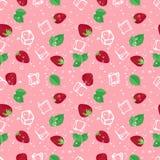 Modello senza cuciture di vettore di mojito della fragola su fondo rosa illustrazione di stock