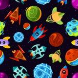 Modello senza cuciture di vettore di spazio con le astronavi, le stelle, il pianeta ed i razzi, il fondo fantastico dei bambini royalty illustrazione gratis