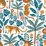 Modello senza cuciture di vettore disegnato a mano con i leopardi, le palme e le piante esotiche su fondo bianco royalty illustrazione gratis