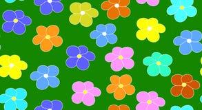 Modello senza cuciture di vettore floreale con i fiori multicolori su un fondo verde del campo Fotografie Stock Libere da Diritti