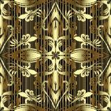 Modello senza cuciture di vettore floreale d'annata dell'oro 3d Oro strutturato a strisce e fondo nero Ornamento antico decorato  illustrazione di stock