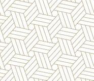 Modello senza cuciture di vettore geometrico semplice moderno con la linea struttura dell'oro su fondo bianco Carta da parati ast royalty illustrazione gratis