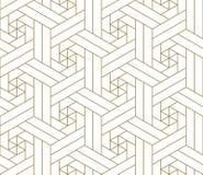 Modello senza cuciture di vettore geometrico semplice moderno con la linea struttura dell'oro su fondo bianco Carta da parati ast illustrazione di stock