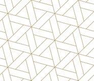 Modello senza cuciture di vettore geometrico semplice moderno con la linea struttura dell'oro su fondo bianco Carta da parati ast illustrazione vettoriale