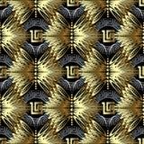 Modello senza cuciture di vettore greco geometrico 3d dell'oro Testo ornamentale royalty illustrazione gratis