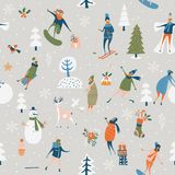 Modello senza cuciture di vettore di Natale con i giochi di inverno Fotografia Stock