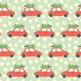 Modello senza cuciture di vettore di Natale con l'albero di Natale rosso e dell'automobile sul tetto Fondo d'annata di festa con  royalty illustrazione gratis