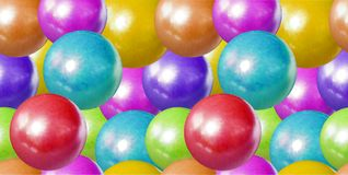 Modello senza cuciture di vettore, palle pastelli fondo, giocattoli dei bambini, dolci del confetto, sfere di plastica di Colores illustrazione vettoriale