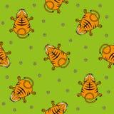 Modello senza cuciture di vettore per i bambini Punto di vista superiore e camomilla del cucciolo di tigre su un fondo verde Immagini Stock