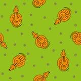 Modello senza cuciture di vettore per i bambini punto di vista superiore e camomilla del serpente del fumetto su fondo verde Fotografie Stock Libere da Diritti