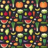 Modello senza cuciture di vettore piano della verdura e della frutta Parte una illustrazione di stock