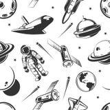 Modello senza cuciture di viaggio di vettore dello spazio dell'astronauta nello stile d'annata royalty illustrazione gratis