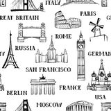 Modello senza cuciture di viaggio Vacanza in carta da parati di Europa Corsa a Fotografia Stock