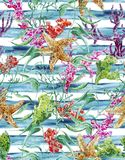 Modello senza cuciture di vita di mare dell'acquerello con alga Fotografia Stock Libera da Diritti