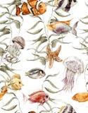 Modello senza cuciture di vita di mare dell'acquerello, subacqueo illustrazione vettoriale