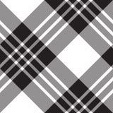 Modello senza cuciture diagonale bianco del nero del tartan di Macgregor Immagini Stock Libere da Diritti