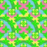Modello senza cuciture dipinto del fiore astratto Fondo floreale variopinto con gli ornamenti rotondi disegnati a mano semplici i Immagine Stock