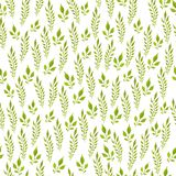 Modello senza cuciture dipinto a mano acquerello Fogli di verde su priorità bassa bianca Uso per carta da imballaggio, tessuti, c fotografia stock