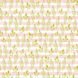 Modello senza cuciture dipinto a mano acquerello Fogli di verde su priorità bassa bianca Uso per carta da imballaggio, tessuti, c fotografia stock libera da diritti
