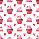 Modello senza cuciture dipinto a mano con il muffin dell'acquerello, il dolce ed il cuore rosso royalty illustrazione gratis