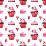 Modello senza cuciture dipinto a mano con il muffin dell'acquerello, il dolce, la caramella gommosa e molle ed il cuore rosso illustrazione di stock