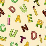 Modello senza cuciture dipinto a mano con le lettere Fondo adorabile per i bambini Fotografia Stock Libera da Diritti