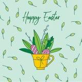 Modello senza cuciture dipinto a mano sveglio di pasqua Uova di Pasqua e fiori Immagini Stock Libere da Diritti
