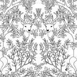 Modello senza cuciture disegnato a mano con i cervi e gli scoiattoli Immagini Stock Libere da Diritti