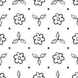 Modello senza cuciture disegnato a mano con i fiori isolati su bianco Fotografia Stock