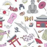 Modello senza cuciture disegnato a mano con i simboli del Giappone - i sushi del riso di Buddha della bandiera di sakura del kimo illustrazione di stock
