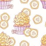 Modello senza cuciture disegnato a mano con il buttercream del bigné e della banana di scarabocchio Priorità bassa dell'alimento Fotografia Stock