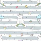 Modello senza cuciture disegnato a mano con il gatto sveglio su un arcobaleno, illustrazione per i bambini, stampa di scarabocchi Immagine Stock Libera da Diritti