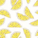 Modello senza cuciture disegnato a mano con il limone Fondo per il pacchetto del caffè, della cucina o dell'alimento Fotografie Stock