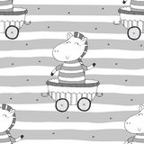 Modello senza cuciture disegnato a mano con la zebra sveglia nel rimorchio Stampa del modello per i bambini Immagini Stock Libere da Diritti